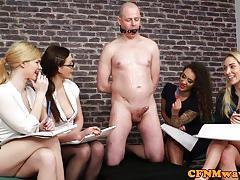 Cfnm mean femdoms humiliating ballgagged dude