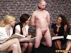 Cfnm mean femdoms humiliating ballgagged dude