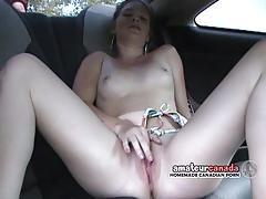 Teen rubs her pussy on the backseat
