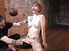bdsm, babe, redhead, vibrator, fingering, tattooed, ball gag, weights, rope bondage, hogtied, kink, jeze belle