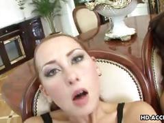 Three hot sluts fuck hard with a strap on