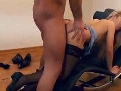 Petite blonde sabrina fucking in a chair wearing stockings and stilettos