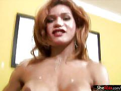 Shaved tranny swings her ladystick and cumshots like crazy