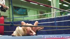 Lesbian babes enjoy naked wrestling movie