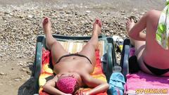 Horny topless amateurs milfs - hot voyeur beach video