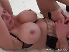 Lady-sonia sucking a good dick with handjob and jizz on tits