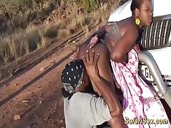 Safari sex with chubby african babe outdoors