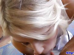 Blonde stuffs her mouth with hard cock