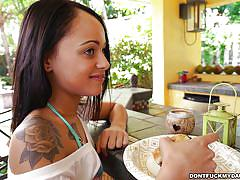babe, footjob, blowjob, brunette, tattooed, big dick, in kitchen, don't fuck my daughter, holly hendrix