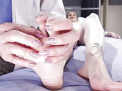 Shemale nurse needs a footjob