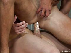 Getting ready to ride cock after intense workout
