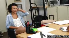 Ebony teen sucking big black dick riding office