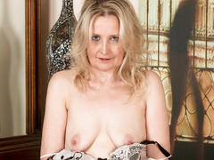 masturbation, mature, milf, blonde, granny, lingerie, solo, stockings, saggy