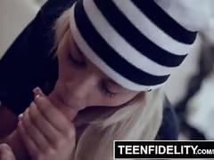 Teenfidelity - stepdaughter teases dad and begs for him to cum inside her