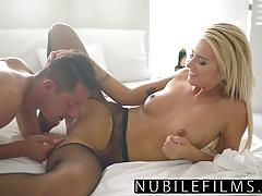 Naughty blonde drilled in sexy black pantyhose