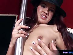 Brunette pole dancer masturbates with a dildo