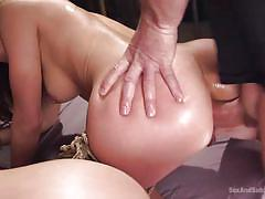 threesome, bdsm, big ass, deepthroat, slaves, babes, from behind, anal sex, rope bondage, sex and submission, kink, john strong, kimber woods, moka mora