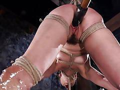 Bound slave has every hole stuffed