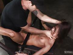 threesome, bdsm, babe, ebony, interracial, deepthroat, rough, device bondage, sexually broken, maestro, jack hammerx, kalina ryu
