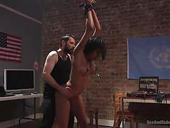 bdsm, big tits, babe, domination, tattooed, tied hands, ass spanking, nipple clamps, standing fuck, sex and submission, kink, tommy pistol, sadie santana
