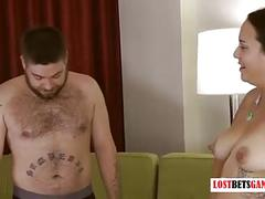 Couple plays a strip word game...