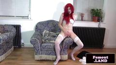 Redhead tranny toys her butt and jerks