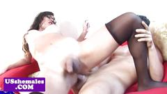 Busty spex tgirl caught jerking gets analized