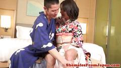 Kimono shemale pounding japanese ass