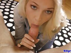 Blonde babe slobbers over this hard cock