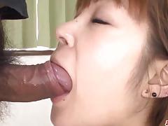 Asian throat fucks this hard cock