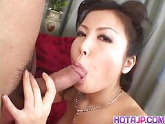 Asian brunette sucking cock in threesome