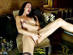 brunette, american, milf, masturbation, stockings, fingering, small tits, solo, mature, natural tits, amateur