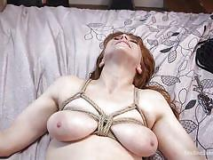 Redhead busty babe was bound & fucked