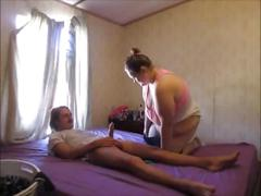 Fat wife sucks & ride huge dick getting an orgasm