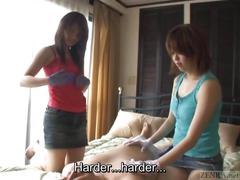 Subtitled cfnm japanese gloved femdom full body teasing