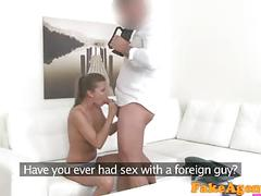 Fakeagent hot brunette model in white panties sucks dick for top job