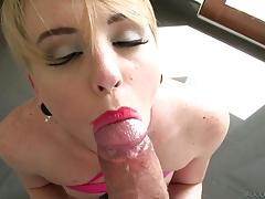 rocco siffredi, miley may, blowjob, cumshot, blonde, camera, pov, sucking