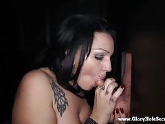 Kitty swallows all the dick that cum through hole in the wall