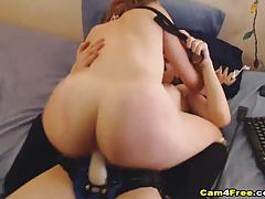 Racy lesbian fucks her partners warm slot