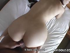 Asian babe sucks and fucks a pussy hungry dick