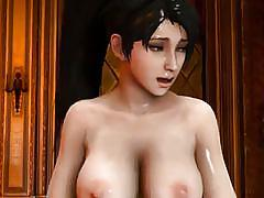 Sexy futa babe bounces up and down on a massive futa penis