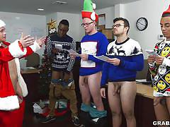 Santa jacks off gay studs