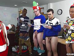 Santa jacks off gay studs