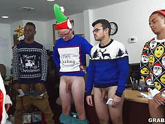 big dick, office, orgy, sex party, christmas, blowjobs, costumes, santa claus, handjobs, grab ass