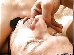 Cruel master inserting needle in guy's peehole