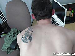Black bull banging white gay in the office