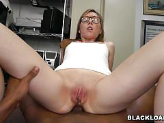 Black dude wants to unload a pile of cum inside her white twat