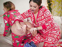 threesome, lesbians, babe, blowjob, bubble butt, fingering, anal dildo, christmas, gift, big wet butts, brazzers, allie haze, charles dera, harley jade