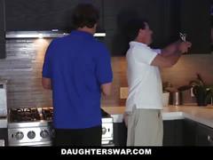 Daughterswap - teens fuck dads best friend during movie