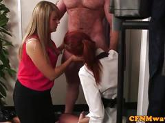 Redhead cfnm babe sucking customers cock
